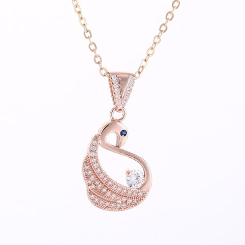Rose Gold - Elegant Swan Necklace with Cubic Zirconia