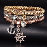 Nautical - Ladies Tri-colored Elastic Bracelets with Various Charms