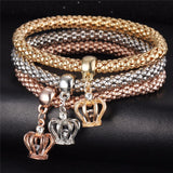 Crowns - Ladies Tri-colored Elastic Bracelets with Various Charms
