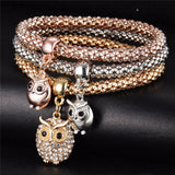 Owls - Ladies Tri-colored Elastic Bracelets with Various Charms