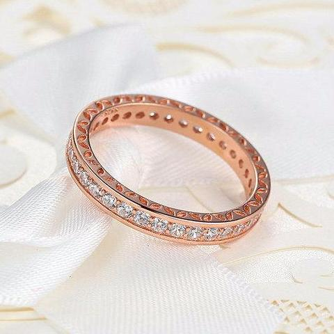 Classic Rose Gold Plated Ring with Cubic Zircon