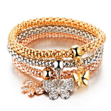 Butterflies - Ladies Tri-colored Elastic Bracelets with Various Charms