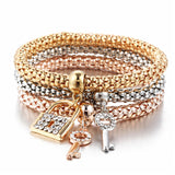 Padlock and Keys - Ladies Tri-colored Elastic Bracelets with Various Charms