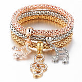 Musical - Ladies Tri-colored Elastic Bracelets with Various Charms