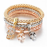 Skulls - Ladies Tri-colored Elastic Bracelets with Various Charms