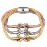 Infinity - Ladies Tri-colored Elastic Bracelets with Various Charms