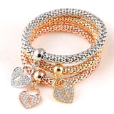 Heart Padlock - Ladies Tri-colored Elastic Bracelets with Various Charms