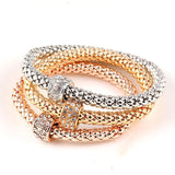 Rings - Ladies Tri-colored Elastic Bracelets with Various Charms