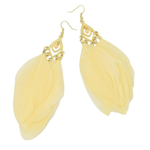 Big Feather Drop Earrings: 4 Colors Beige