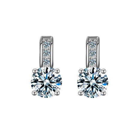 Silver - Romantic Zircon Crystal Stud Earrings: 2 Colors