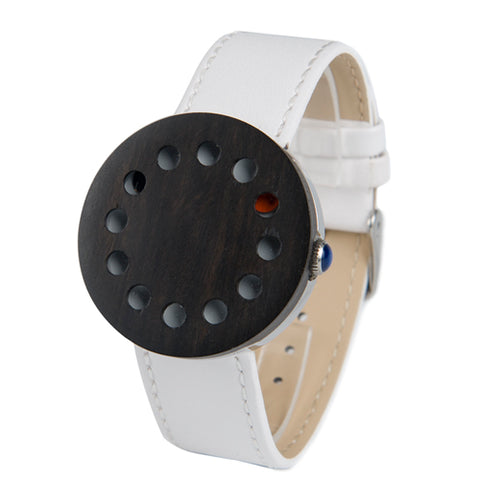 12 Holes Wooden Watch with Leather Strap: Various Colors