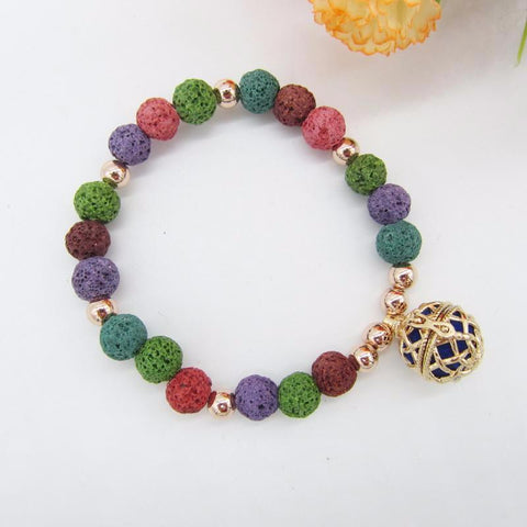 Multi Color Lava Bracelet with 16mm Locket Cage Diffuser