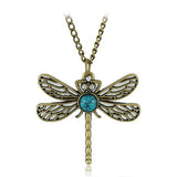 Vintage Dragonfly with Turquoise and Rhinestone Necklace