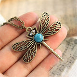 Women's Vintage Dragonfly with Turquoise and Rhinestone Necklace