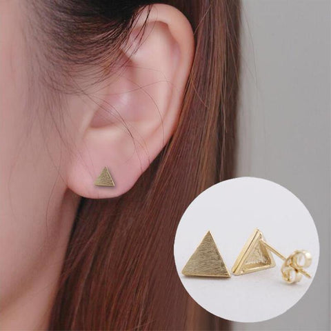 Women's Small Geometric Triangle Stud Earings