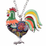 Green - Maxi Chain Rooster Pendant Necklace: 6 Colors