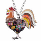Brown - Maxi Chain Rooster Pendant Necklace: 6 Colors