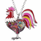 Red - Maxi Chain Rooster Pendant Necklace: 6 Colors