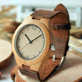 Women's Retro Bamboo Watch with Genuine Leather Straps