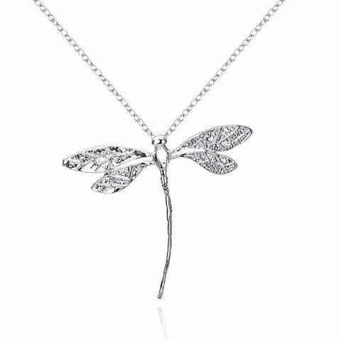 Delicate Silver Dragonfly Pendant Necklace