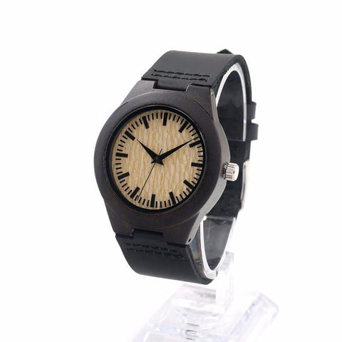 Blond - Ebony Women's Bamboo Quartz Watch with Black Leather Strap
