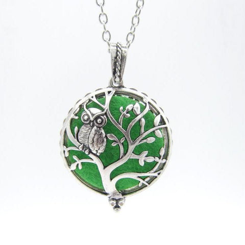 Owl Standing on Hollow Tree Magnetic Aromatherapy Necklace