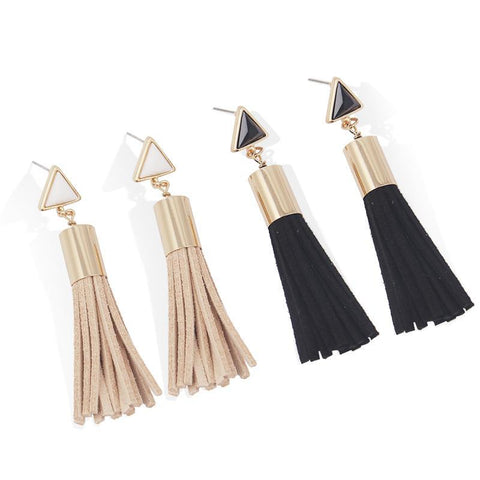 Vintage Triangle Tassel Faux Suede Drop Earrings