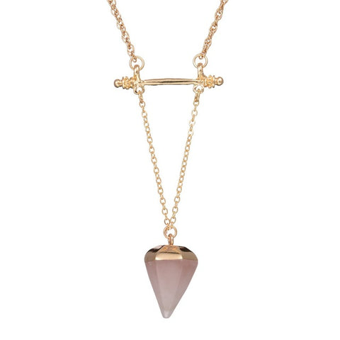 Long Chain Geometric Triangle Faux Stone Pendant Necklace