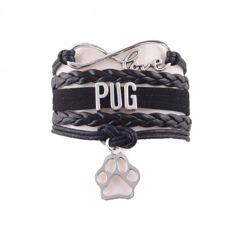 """Infinite Pug Love"" Leather Wrap Bracelet with Paw Charm Black"