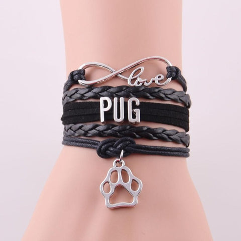 """Infinite Pug Love"" Bracelet with Paw Charm Black"