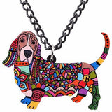 Basset Hound Pendant Necklace Multicolor