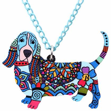 Basset Hound Pendant Necklace Blue