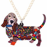 Basset Hound Pendant Necklace Brown