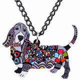 Basset Hound Pendant Necklace Black