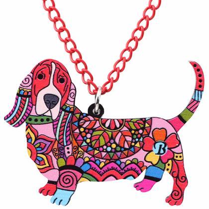 Basset Hound Pendant Necklace: 6 Color Combos