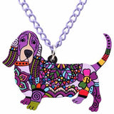 Basset Hound Pendant Necklace Purple