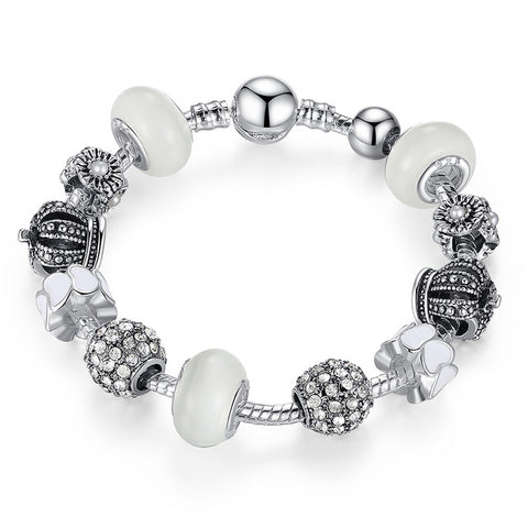Royal Crown Silver Charm Bracelet
