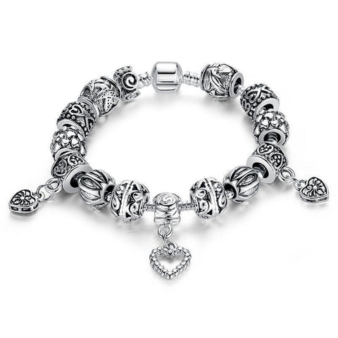 Antique Silver Dangling Heart Charm Bracelet