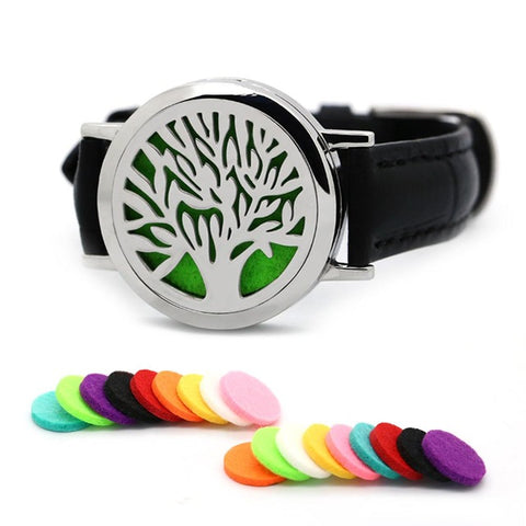 30mm Silver Magnet Tree Of Life Stainless Steel Aromatherapy Locket Bracelet Essential Oil Diffuser Leather Wrap Bracelet
