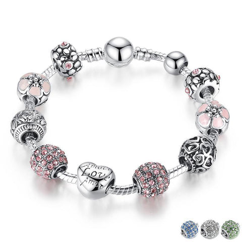 Antique Silver Love and Flower Crystal Ball Charm Bracelet
