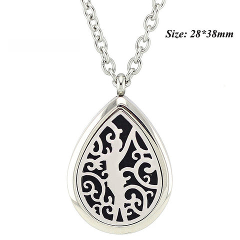 Free with Chain as Gift! Hot Sale 28*38mm Magnetic Silver 316L Stainless Steel Teardrop Essential Oil Diffuser Pendant Necklace