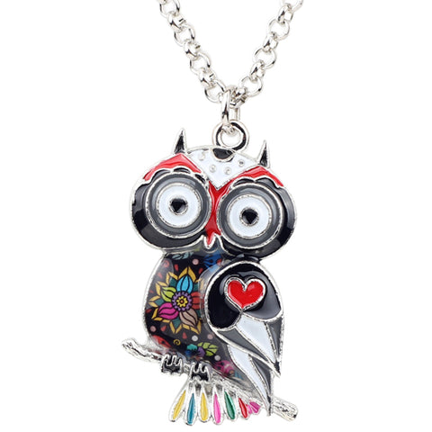 Bonsny Statement Zinc Alloy Floral Owl Bird Choker Necklace Chain Pendant Fashion 2018 New Enamel Jewelry For Women Teens Girl