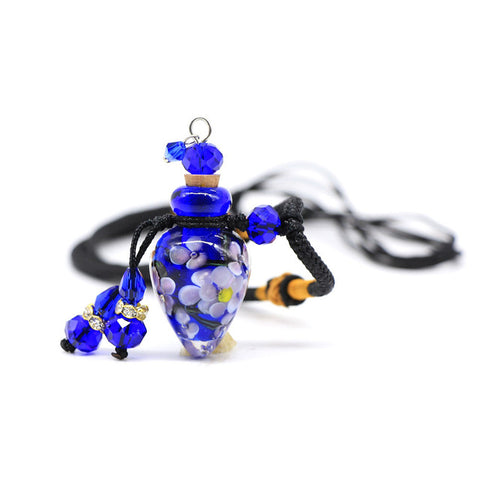 Water Drops Glass Flower Aromatherapy Bottle Necklace