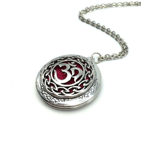 """Moola Mantra"" Locket Necklace with Essential Oil Diffuser Red"
