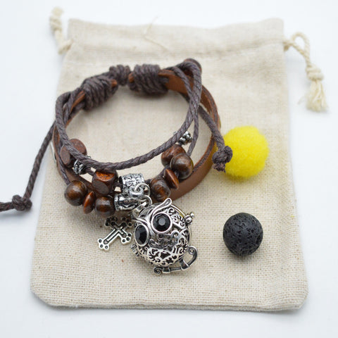 Leather Essential Oil Diffusing Bracelet: Owl