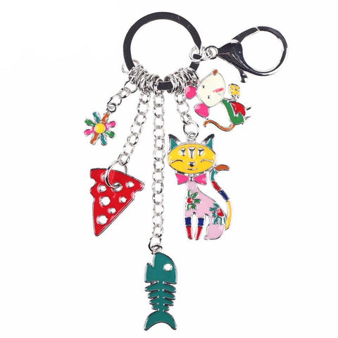 """Cat's Life"" Charm Keychain: 5 Colorful Styles Multicolor"