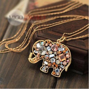 Colorful Crystal Elephant Pendant Necklace