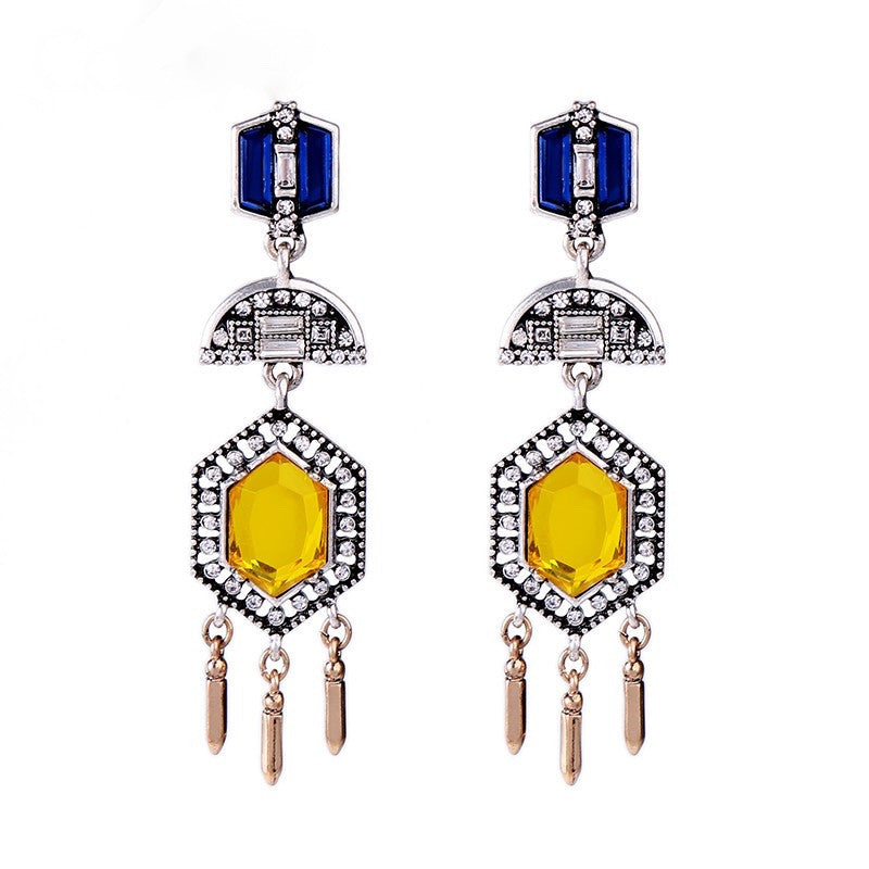Brilliant Virtue Earrings - Blue/Yellow