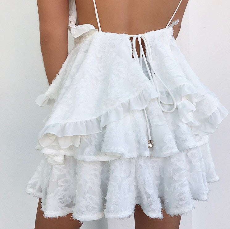 Firenze Ruffle Mini Skirt - White