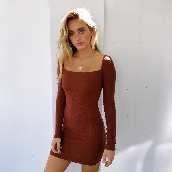 Ribbed Mini Dress - Brick